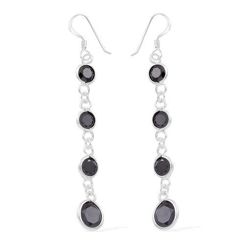 ELANZA AAA Simulated Black Spinel (Rnd) Hook Earrings in Sterling Silver