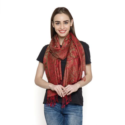 SILK MARK - 100% Superfine Silk Red, Green and Multi Colour Jacquard Jamawar Scarf with Fringes at the Bottom (Size 180x70 Cm) (Weight 125- 140 Gms)