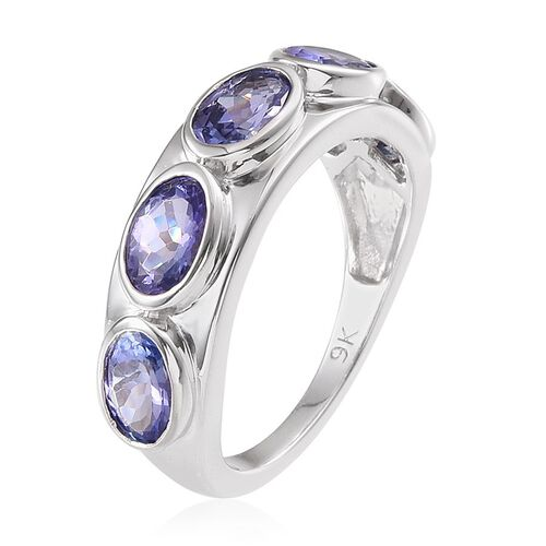 9K W Gold Tanzanite (Ovl) 5 Stone Ring 2.500 Ct.