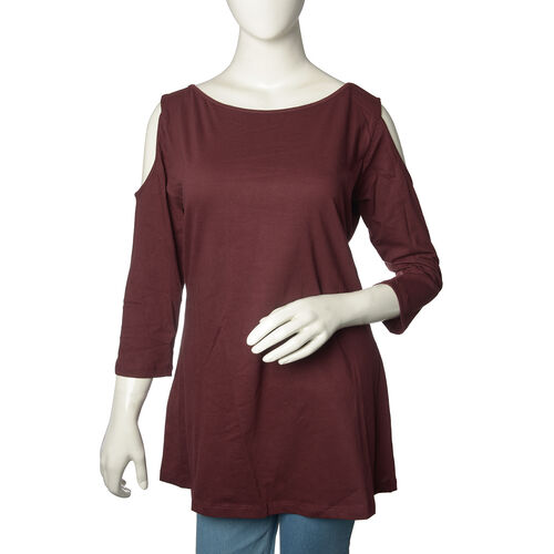New for Season - 100% Cotton Burgundy Colour Cutout Shoulder Top (Size 75X50 Cm)
