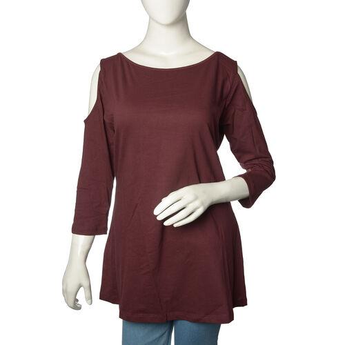 100% Cotton Burgundy Colour Cutout Shoulder Top (Size 75X55 Cm)