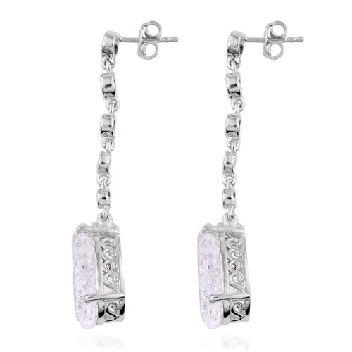 White Crackled Quartz (Pear), White Topaz Earrings in Platinum Overlay Sterling Silver 12.000 Ct.
