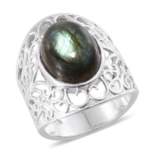 Labradorite (Ovl) Filigree Ring in Platinum Overlay Sterling Silver 8.500 Ct.