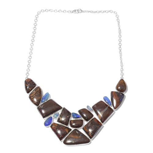 One Off A Kind- Australian Boulder Opal Rock and Opal Double Necklace (Size 18) in Sterling Silver 301.650 Ct. Silver wt 36.27 Gms.