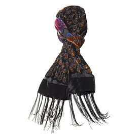 Orange, Black and Multi Colour Peacock and Flower Pattern Scarf (Size 160x52 Cm)