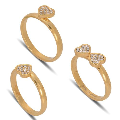AAA White Austrian Crystal Heart 3 Ring Set in ION Plated Yellow Gold Stainless Steel