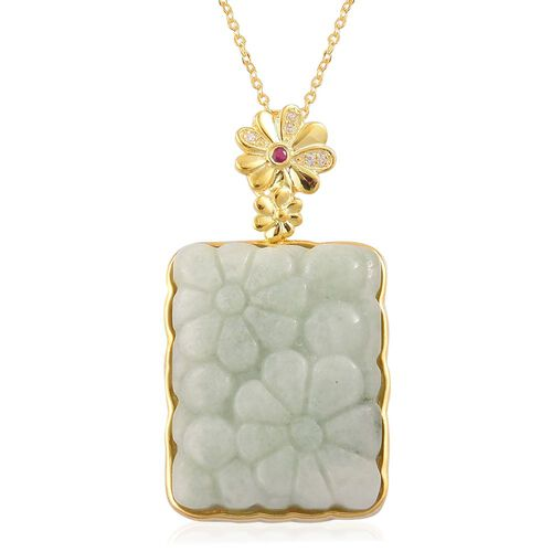 Limited Edition - Hand Polished Carved Green Jade, Burmese Ruby and White Zircon Floral Pendant With Chain in Yellow Gold Overlay Sterling Silver 32.330 Ct.