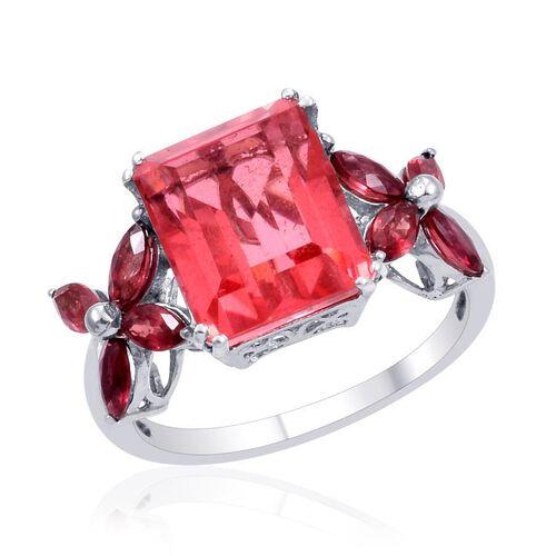 Padparadscha Quartz (Oct 6.00 Ct), Orange Sapphire Ring in Platinum Overlay Sterling Silver 7.250 Ct.