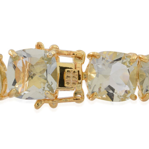 Green Amethyst (Cush) Bracelet (Size 7.5) in 14K Gold Overlay Sterling Silver 65.000 Ct. Silver wt 18.20 Gms.