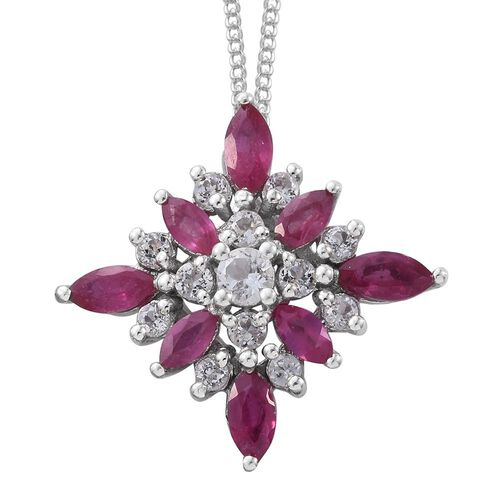 African Ruby and White Topaz 2 Carat Silver Cluster Pendant With Chain in Platinum Overlay