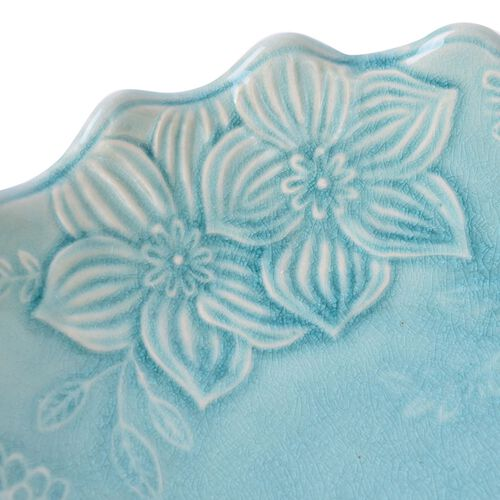 Blue Colour Flower Shape Ceramic Fruit and Cake Stand (Size 25.5x10 Cm)