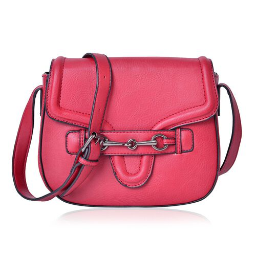 Red Colour Horsebit Buckle Design Crossbody Bag with Adjustable Shoulder Strap (Size 22.5X19X7.5 Cm)
