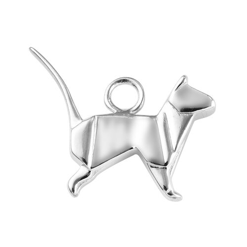 Platinum Overlay Sterling Silver Origami Cat Charm, Silver wt 3.50 Gms.