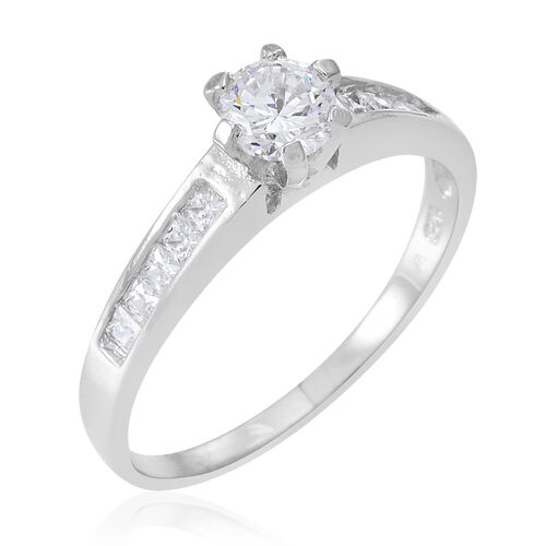 ELANZA AAA Simulated White Diamond (Rnd) 2 Ring Set in Rhodium Plated Sterling Silver