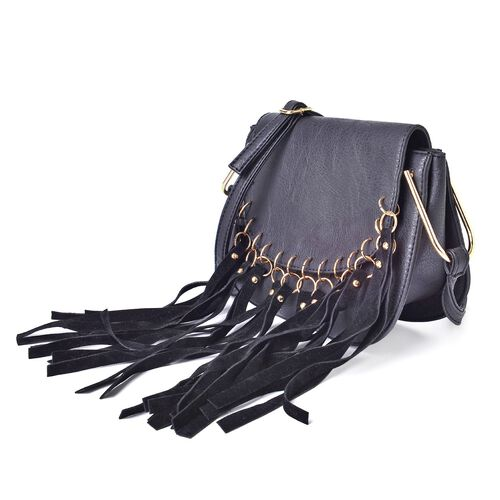 Black Colour Crossbody Bag with Tassels and Adjustable Shoulder Strap (Size 20x17x8 Cm)
