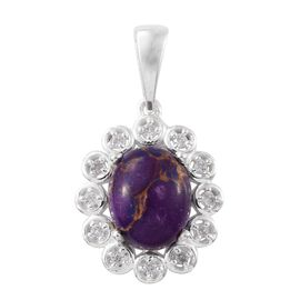 Mojave Purple Turquoise (Ovl 2.40 Ct), Natural Cambodian Zircon Pendant in Sterling Silver 2.500 Ct.