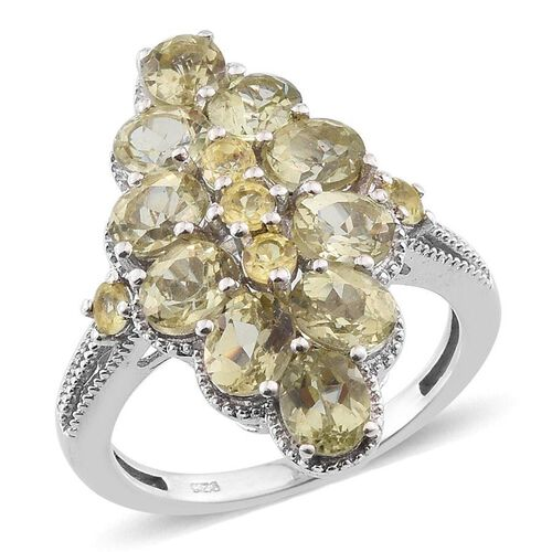 Natural Canary Apatite (Ovl) Cluster Ring in Platinum Overlay Sterling Silver 4.250 Ct.