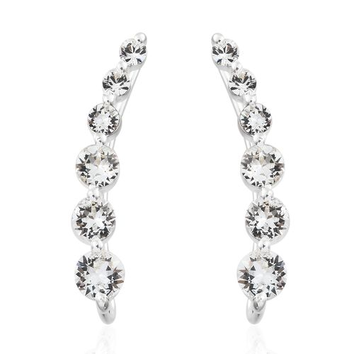 Set of 2 J Francis Crystal from Swarovski - White Colour Crystal (Rnd) Climber and Stud Earrings (with Push Back) in Sterling Silver, Silver wt 4.04 Gms.