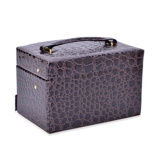 Dark Coffee Colour Croc Embossed 3 Layer Jewellery Box with Mirror Inside (Size 18x14x11 Cm)