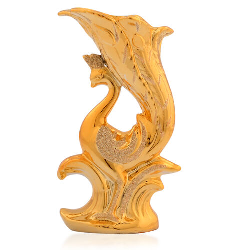 Home Decor - Golden Colour Ceramic Peacock Shape Flower Vase or Pen Holder