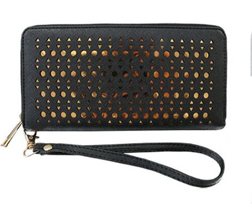 Laser Cut Circle Zip Around Black Colour Wallet (Size 19x10 Cm)