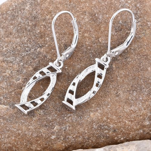 Platinum Overlay Sterling Silver Lever Back Earrings, Silver wt. 3.36 Gms.