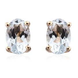 9K Yellow Gold 0.75 Carat AA Espirito Santo Aquamarine Stud Earrings (with Push Back)