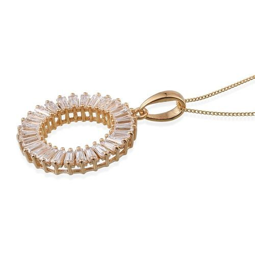 J Francis - 14K Gold Overlay Sterling Silver (Bgt) Circle Pendant With Chain Made with SWAROVSKI ZIRCONIA