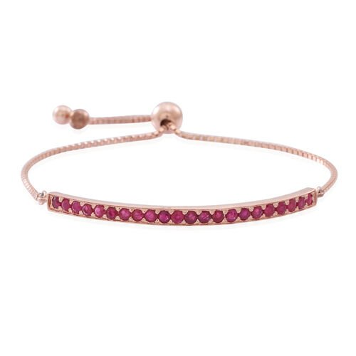 AAA  Burmese Ruby (Rnd) Adjustable Bracelet (Size 6.5 to 8.5) in 14K Rose Gold Overlay Sterling Silver