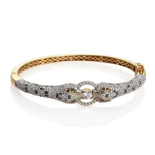J Francis - 14K Gold Overlay Sterling Silver (Rnd) Leopard Bangle (Size 7.5) Made with SWAROVSKI ZIRCONIA, Silver wt 22.90 Gms. Number of Swarovski 363 (Equivalent Ct. wt 5.154)