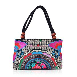 SHANGHAI COLLECTION Black, Pink and Multi Colour Floral Hand Made, Hand Embroidered Tote Bag with Beads in Handle (Size 27X17X9.5 Cm)