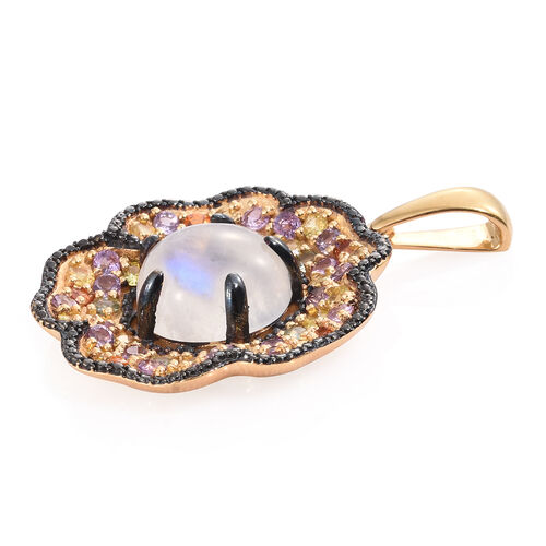 Sri Lankan Rainbow Moonstone (Rnd 11.35 Ct), Multi Sapphire Floral Pendant in 14K Gold and Black Rhodium Overlay Sterling Silver 15.750 Ct. Silver wt 11.36 Gms.