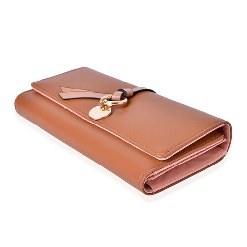 Brown Colour Ladies Wallet with Knot Charm and Multiple Card Slots (Size 19X9X3 Cm)