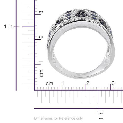 Kanchanaburi Blue Sapphire (Rnd) Ring in Platinum Overlay Sterling Silver 2.750 Ct.