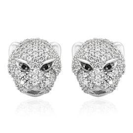 J Francis - Desginer Inspired- Platinum Overlay Sterling Silver (Rnd) Leopard Stud Earrings (with Push Back) Made with SWAROVSKI ZIRCONIA and Boi Ploi Black Spinel, Number of Swarovski 194.