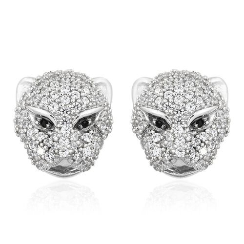 J Francis - Desginer Inspired- Platinum Overlay Sterling Silver (Rnd) Leopard Stud Earrings (with Push Back) Made with SWAROVSKI ZIRCONIA and Boi Ploi Black Spinel, Number of Swarovski 194.