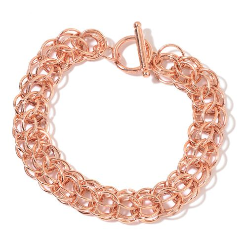 Designer Inspired - ION Plated Rose Gold Stainless Steel Circle Link Bracelet (Size 8.5) with Toggle Lock
