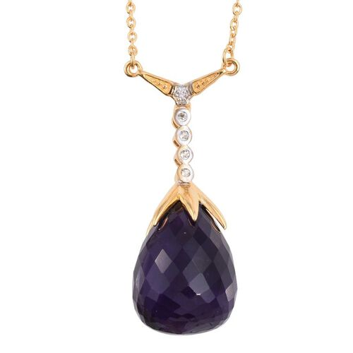 Amethyst, White Topaz Pendant With Chian in 14K Gold Overlay Sterling Silver 18.250 Ct.
