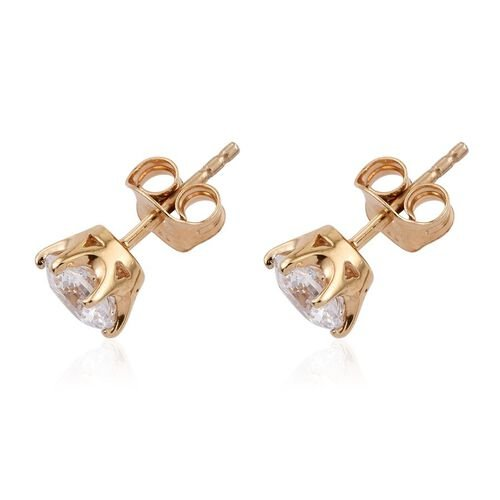 J Francis - 14K Gold Overlay Sterling Silver (Rnd) Stud Earrings (with Push Back) Made with SWAROVSKI ZIRCONIA