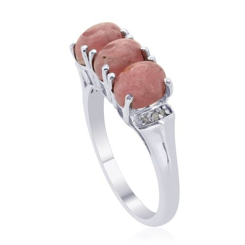 Argentinian Rhodochrosite (Ovl) Diamond Ring in Platinum Overlay Sterling Silver  3.752 Ct.