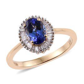 ILIANA 18K Yellow Gold 1 Carat AAA Oval Tanzanite Halo Ring With Diamond SI G-H