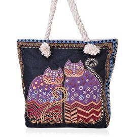 Black, Red and Multi Colour Cat Pattern Jacquard Tote Bag (Size 43X37X34X11 Cm)