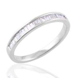 9K W Gold SGL Certified Diamond (Bgt) (I3/G-H) Half Eternity Band Ring 0.500 Ct.