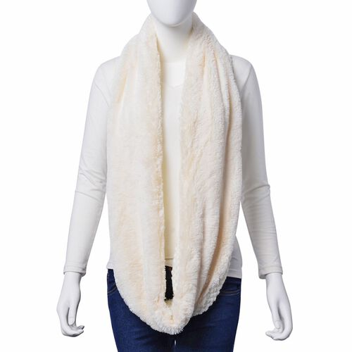 Double Layered Infinity White Colour Scarf (Size 20X80 Cm)