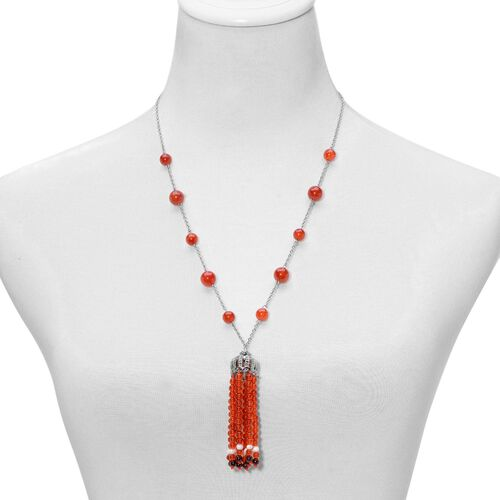 Dyed Red Agate, Indian Garnet and Fresh Water White Pearl Necklace (Size 24) in Stainless Steel