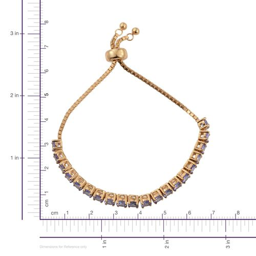 Tanzanite (Rnd) Adjustable Bracelet (Size 6.5 to 9) in 14K Gold Overlay Sterling Silver 4.500 Ct.