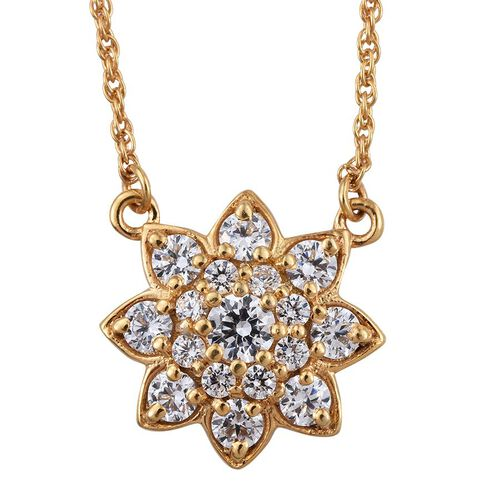 J Francis - 14K Gold Overlay Sterling Silver (Rnd) Floral Necklace (Size 18) Made with SWAROVSKI ZIRCONIA
