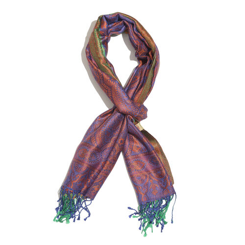 SILK MARK - 100% Superfine Silk Purple, Green and Multi Colour Reversible Jacquard Jamawar Scarf with Tassels (Size 190X70 Cm)