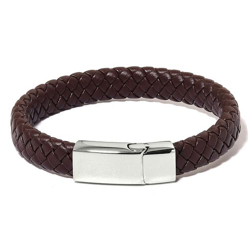 PU Leather Brown Braided Bracelet (Size 8.5) with Stainless Steel Clasp