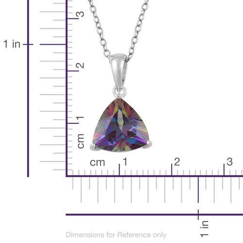 Coated Mystic Topaz (Trl) Solitaire Pendant With Chain in Rhodium Plated Sterling Silver 4.050 Ct.